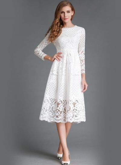 Round Neck Lace Panel Long Sleeve Dress