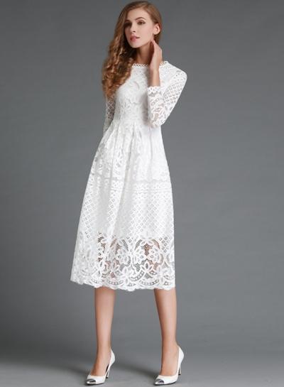 Round Neck Lace Panel Long Sleeve Dress stylesimo.com