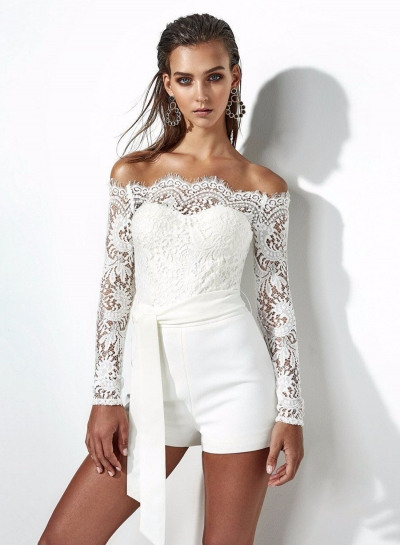 Slash Neck Long Sleeve Lace Romper