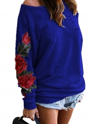 One Shoulder Long Sleeve Ripped Hole Rose Embroidery Sweatshirt