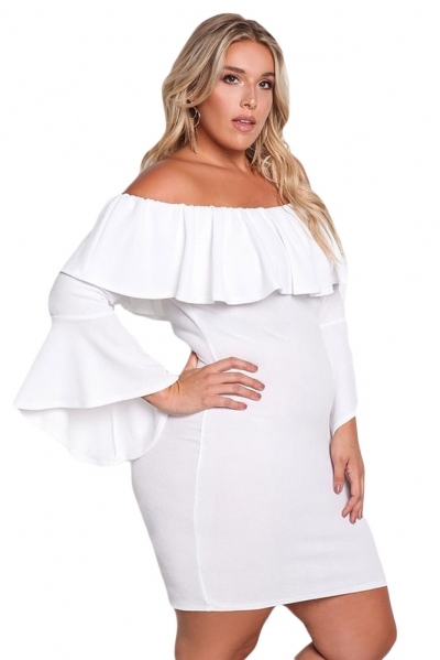 712d0b2d46d White Plus Size Off Shoulder Layered Ruffle Bodycon Dress - STYLESIMO.com