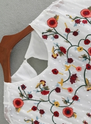 Fashion Floral Embroidery Backless Mini Dress