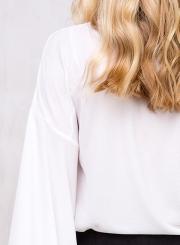 Fashion Deep V Neck Flare Sleeve Lace UP Blouse