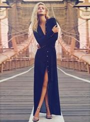 Long Sleeve Button front High Split Maxi Dress