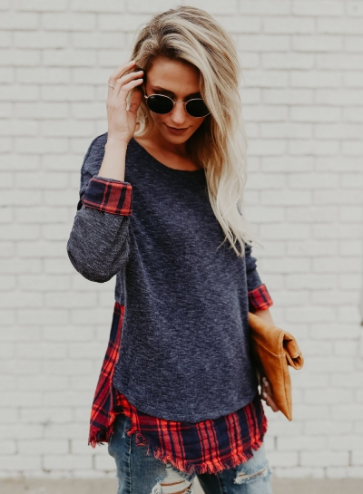 Round Neck Long Sleeve Plaid Panel Knit Tee Shirt