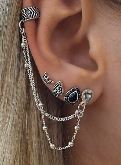 Fashion 4 pieces Water Drop Chain Earrings