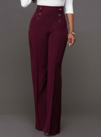 High Waist Solid Wide-Leg Pants