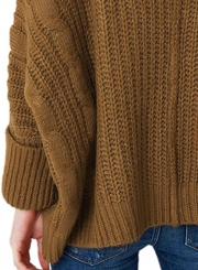 FashionTurn Down Collar Long Sleeve Solid Color Pullover Sweater
