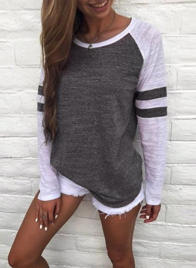 Stripe Color Block Pullover Loose Tee
