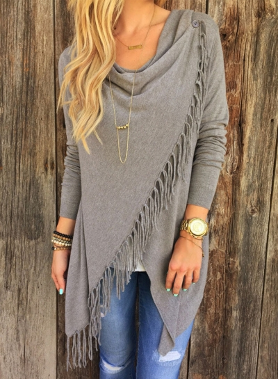 Fashion One Button Irregular Top with Tassel