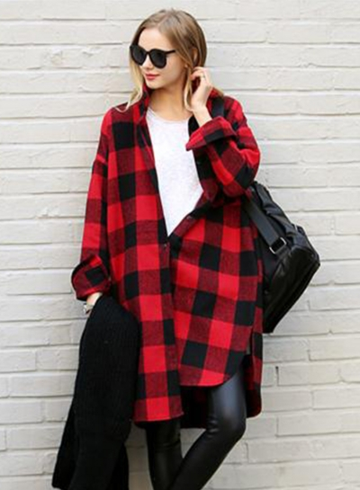Long Sleeve Plaid Loose Button down Shirt