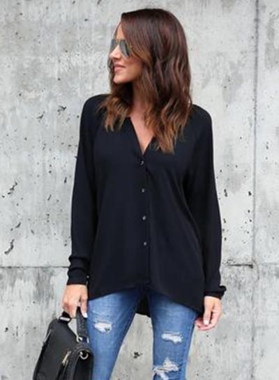 721d7fc1 Fashion V Neck Button down Chiffon Shirt - STYLESIMO.com