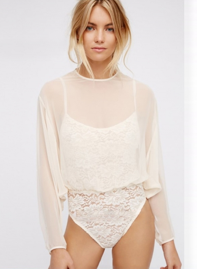 Women's Blouses  Shirt Solid Back Slit Lace Bodysuit