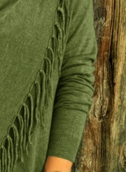 Fashion One Button Irregular Top with Tassel