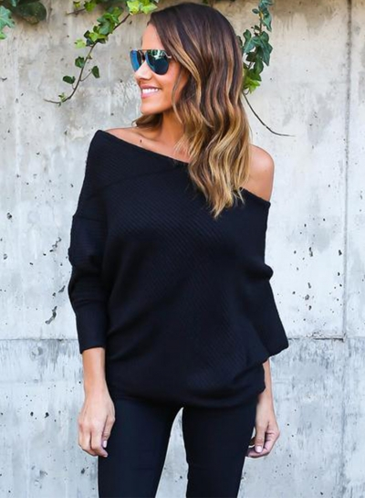 Fashion One Shoulder Batwing Sleeve Loose Sweater