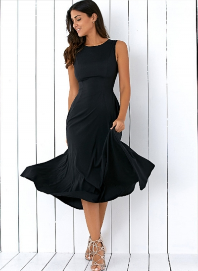 Elegant Round Neck Sleeveless Solid Color Pullover Maxi Dress