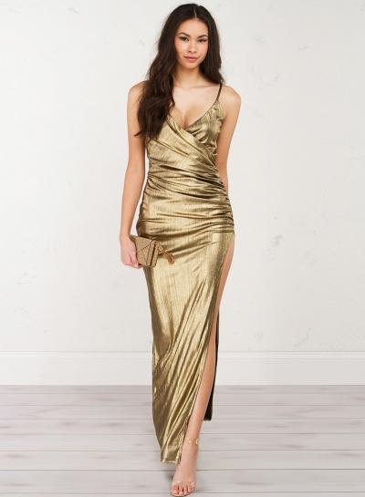V Neck Sleeveless Backless Slit Maxi Evening Dress