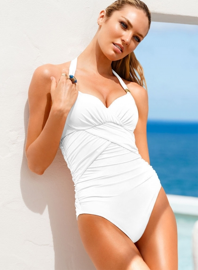 Solid Halter Backless One Piece Swimsuit