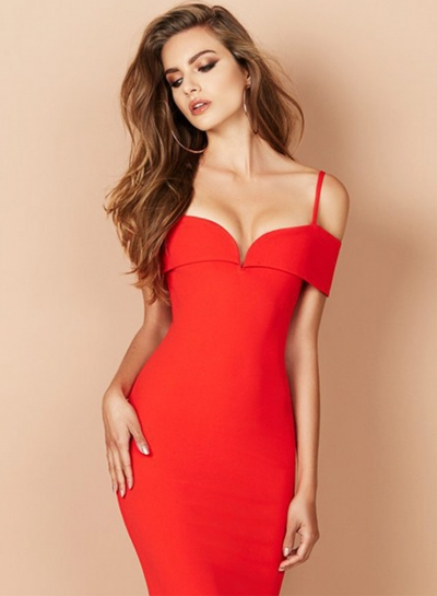 Off Shoulder Bodycon Party Midi Dress