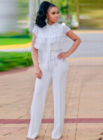 High Waist Lace-up front Wide-Leg Pants
