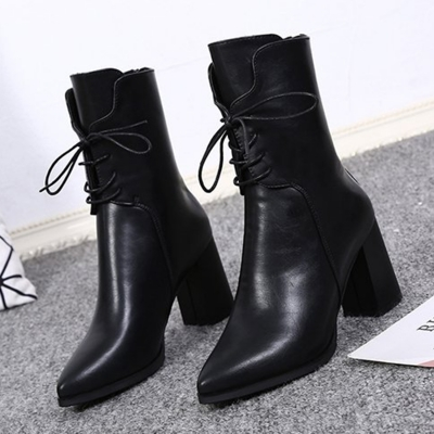 bbfa4c485245 Solid Block Heels Lace up Pointed Toe Mid-calf Boots - STYLESIMO.com