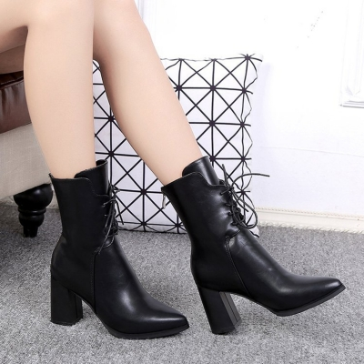 Solid Block Heels Lace up Pointed Toe