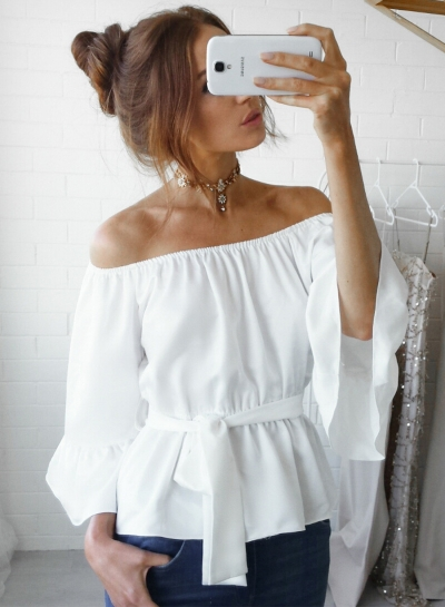 Off Shoulder Flare Sleeve Chiffon Blouse with Belt