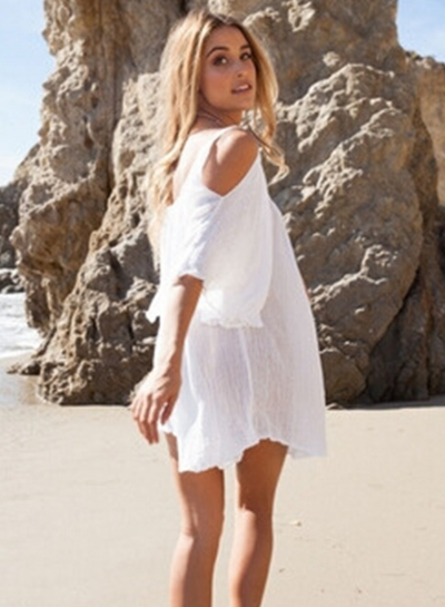 Off Shoulder Half Sleeve Loose Mini Beach Dress