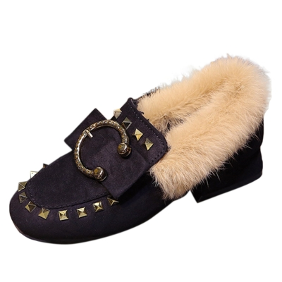 Square Toe Faux Fur Flat Rivet Warm Shoes