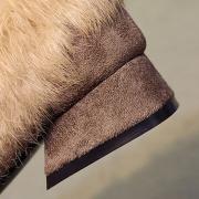 Square Toe Faux Fur Flat Rivet Warm Shoes