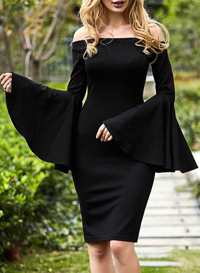 Off Shoulder Flare Sleeve Bodycon Dress