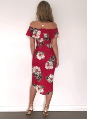 Off Shoulder Ruffle Slit Irregular Dress