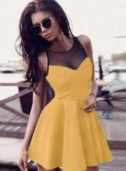 Sleeveless Mesh Panel A-line Mini Dress