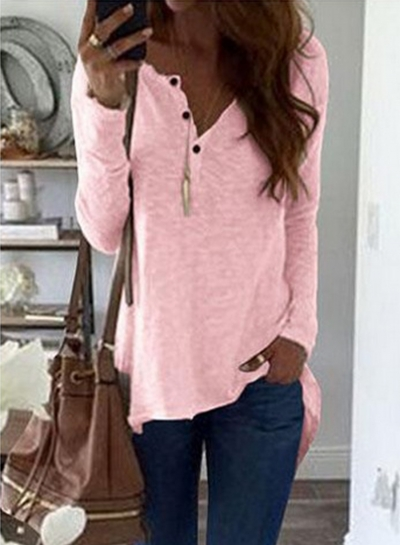 V Neck Long Sleeve Button front High Low Tee
