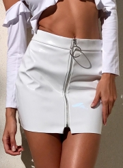 Fashion High Waist front Zip PU Mini Skirt