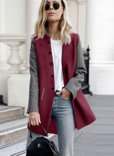 Single Breasted Color Block Coat STYLESIMO.com