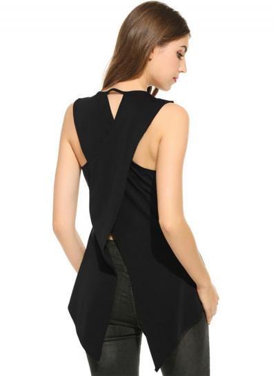 Fashion Back Slit Sleeveless Irregular Design Tee Shirt