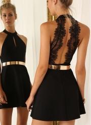 Off Shoulder Lace Panel Backless Mini Dress