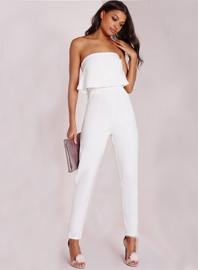 Strapless Ruffle Solid Party Jumpsuit