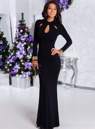 Long Sleeve Cut out Maxi Prom Dress