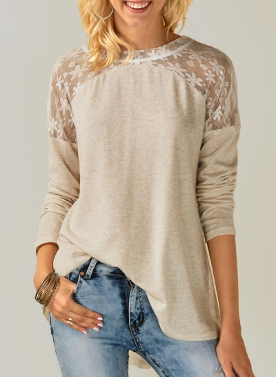 Fashion Round Neck Long Sleeve Lace Splicing Tee Shirt
