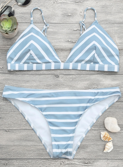 Stripe 2 Piece Triangle Bikini Set