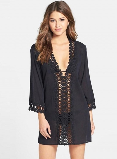 Fashion V Neck Long Sleeve Lace Panel Mini Beach Dress