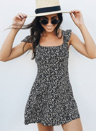 Short Sleeve Backless Floral Printed Mini Dress