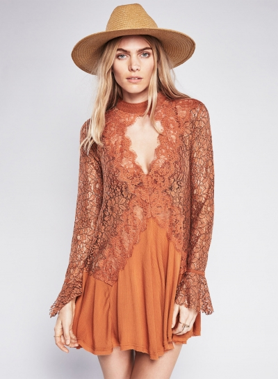 Fashion V Neck Long Sleeve Lace Splicing Irregular Mini Dress