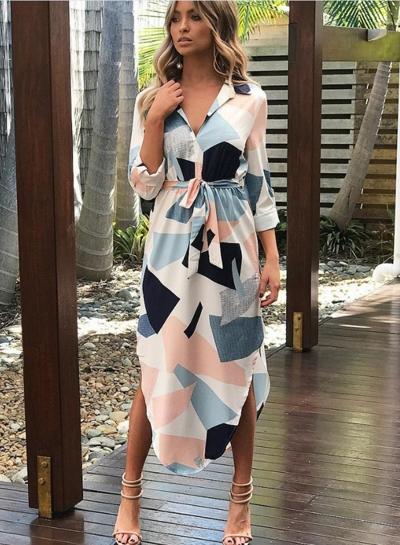 Fashion Turn Down Collar Long Sleeve Geometric Printed Irregular Dress