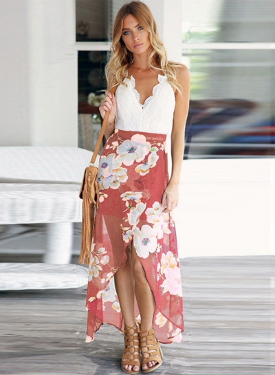 V Neck Sleeveless Backless Floral Irregular Dress