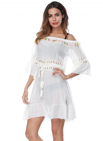 Off Shoulder Drawstring Waist Beachwear Dress with Tassel