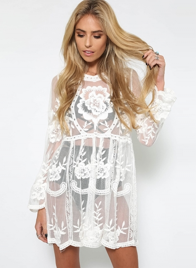 Long Sleeve Sheer Lace Dress