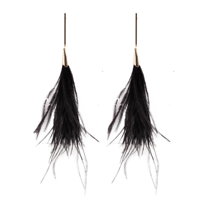 Elegant Feather Decoration Solid Color Party Earrings stylesimo.com